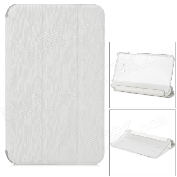 Protective 3-fold Flip Open PU + PC Case for Samsung T110 - White + Transparent