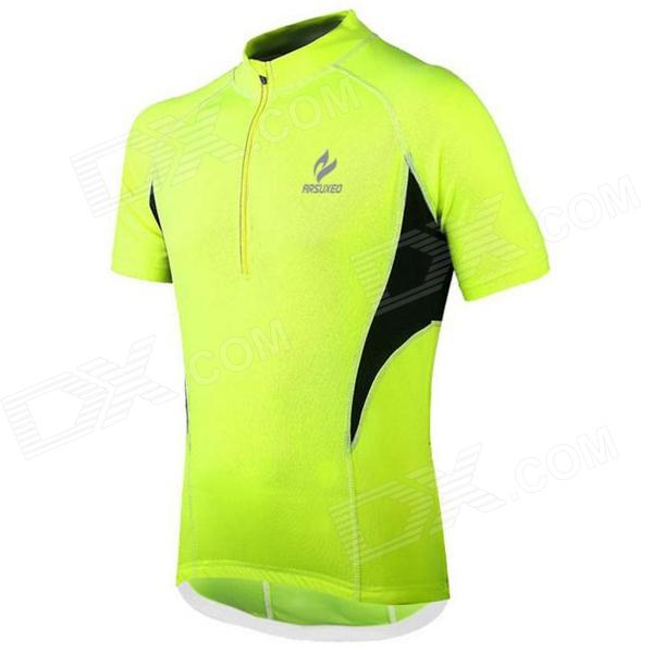ARSUXEO AR665 Polyester Cycling Short-sleeves Top - Fluorescent Green (Size L) arsuxeo 60017 quick dry women cycling running long sleeves jersey top fluorescent green size m