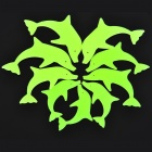 LX-03094 Dolphin Style Glow-in-the-Dark PVC Sticker - Green (9 PCS)