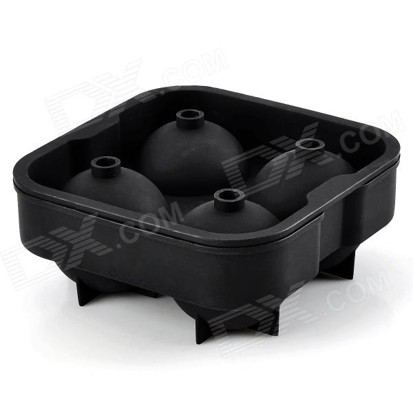 gel030903 Convenient 4-cubicle Whisky Ice Ball Organosilicone Mould - Black