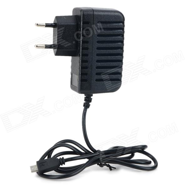 AC Power Charger Adapter w/ Micro USB Cable for Tablet PC / Cellphone - Black (EU Plug / 110~240V)