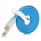Flat USB 2.0 Male to Micro USB Male Data Sync / Charging Cable - Blue + White (120cm)