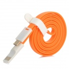 Flat USB 2.0 Male to Micro USB Male Data Sync / Charging Cable - Orange + White (120cm)