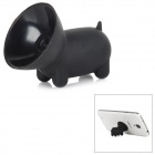 Cute Pig Style Silicone Desktop Mobile Phone Stand Holder - Black