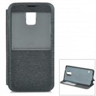 S-What Protective Flip Open PU + PC Case w/ Stand / Display Window for Samsung Galaxy S5 - Black