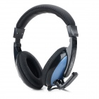 DANYIN DT-2102 Wired Headphones w/ Microphone - Black + Blue (3.5mm Plug / 2.5m)