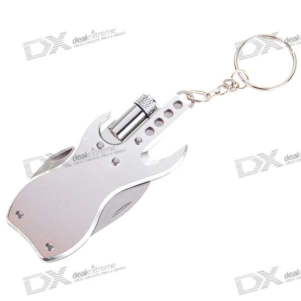 Stainless Steel Multi-Function Pocket Toolkit Knife with Mini Flashlight (Silver)
