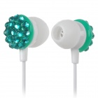 Stylish Rhinestone In-ear Earphones w/ Microphone - White + Green (3.5mm Plug / 120cm-Cable)