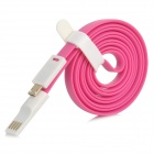 Flat USB 2.0 Male to Micro USB Male Data Sync / Charging Cable - Deep Pink + White (120cm)