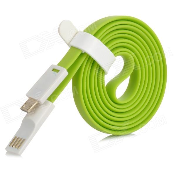 Flat USB 2.0 Male to Micro USB Male Data Sync / Charging Cable - Green + White (120cm) usb 2 0 data charging cable with micro usb port for htc samsung motorola zte more blue