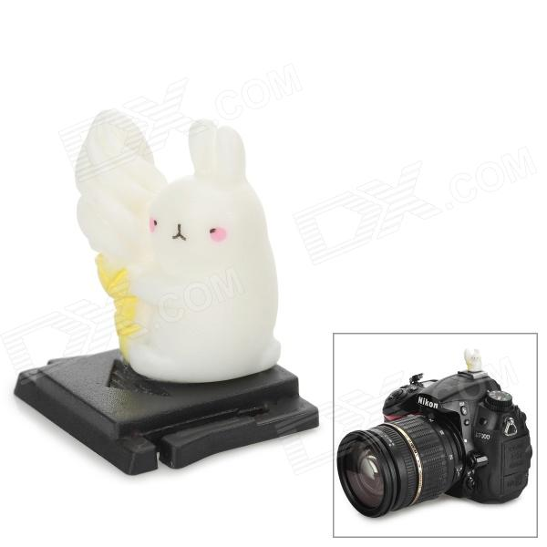 Universal Cute Little Bunny Ornament ABS Hot Shoe Cover for DSLR - Black + White
