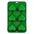 TZ-CJ001LS Silicone Heart-shaped 6-Cup Cake / Bread / Jell Food Mold - Dark Green