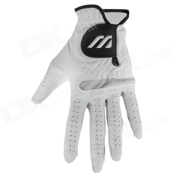 Golf Full Sheepskin Glove - White + Black (Size M)