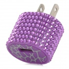 TX-053 Decorative Rhinestone USB AC Power Adapter - Purple + White (US Plug)