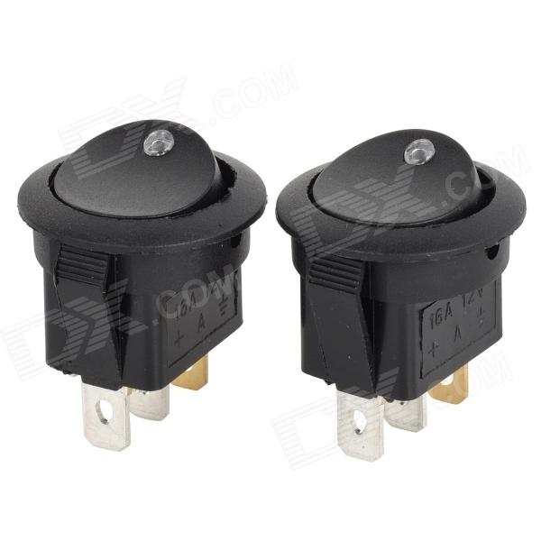 SZGAOY 14031903 Teeterboard Style White Light Car Switch - Black + White + Multi-Colored (2 PCS)