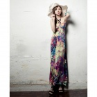 Flower Pattern Milk Silk Hanging Neck Dress (L)