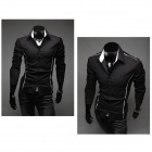 5902001399 Men's Stylish Custom Fitting Cotton Blended Shirt - Black (L)