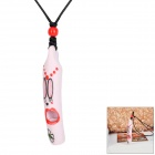 Stylish Decorative Polyester Chain Ceramic Whistle Pendant Necklace - Red + Pink + Black