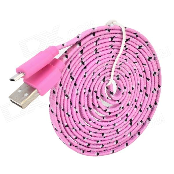 USB Male to Micro USB Male Woven Cable for Samsung P600 / P601 / T310 / T210 / T211 - Pink + Black