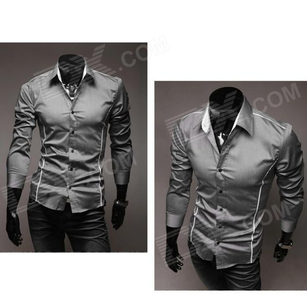5902001399 Men's Stylish Custom Fitting Cotton Blended Shirt - Grey (XL) men s stylish custom fitting cotton blended shirt black xl