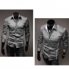 5902001399 Men's Stylish Custom Fitting Cotton Blended Shirt - Grey (XL)