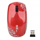 Fashion V188 2.4GHz USB 2.0 1600dpi Wireless Optical Mouse - Red