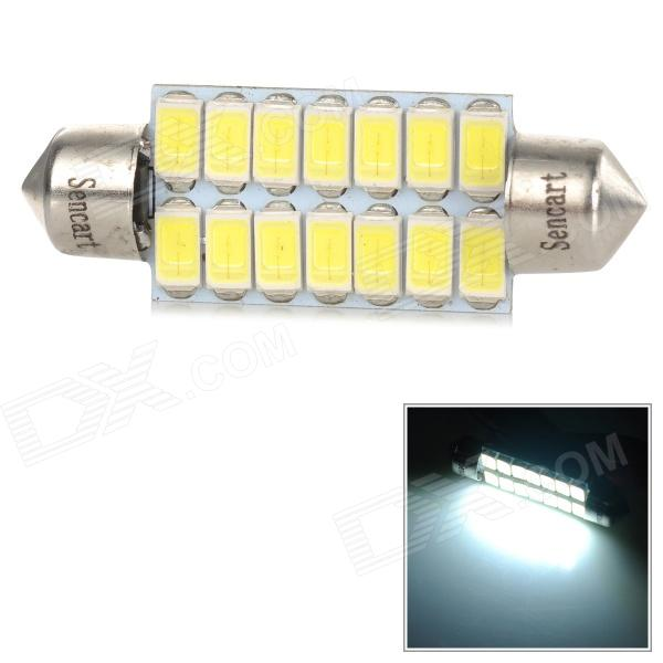 SENCART 41mm 14smd 573 Festoon 40mm 4.5W 150lm 9500K 14-5730 SMD LED Cool White Light Lamp (9~36V) - DXFestoon<br>Common interface models: (41-44mm) 39mm 40mm 41mm 42mm SV8.5-8 560 569 578 211 213 212-2 214-2 2122 2412 6413 6429 DE3021 DE3022 DE3157 DE3425 DE4410 SV8.5-8<br>