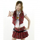 Y2056 Sexy School Uniform Suit - Red + White (Free Size)