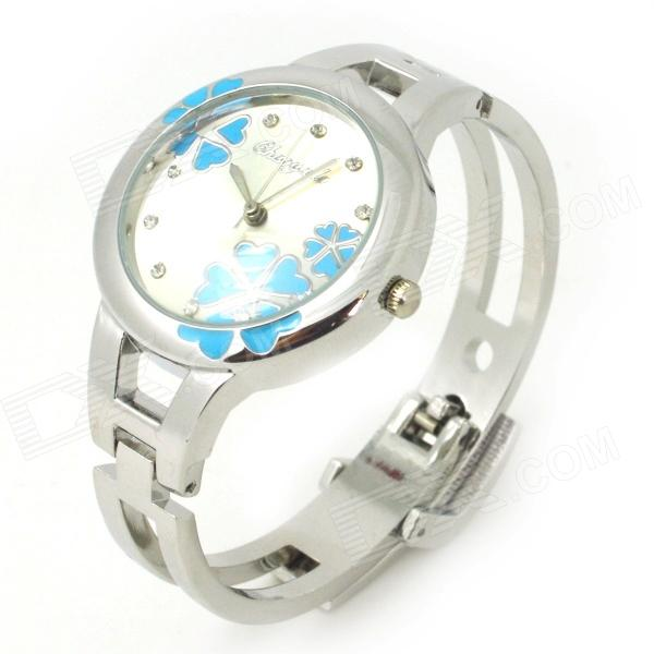 Stylish Bracelet Style Women's Analog Quartz Wrist Watch - Silver + Blue (1 x LR626) stylish bracelet band quartz wrist watch golden silver 1 x 377