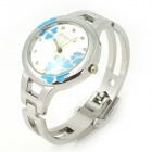 Stylish Bracelet Style Women's Analog Quartz Wrist Watch - Silver + Blue (1 x LR626)