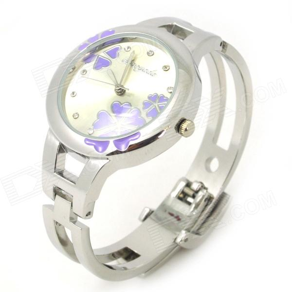 Fashion Bracelet Style Analog Quartz Wrist Watch - Silver + Light Purple (1 x LR626) fashion 1658 trapezoidal beads bracelet analog quartz wrist watch for women 1 x 377