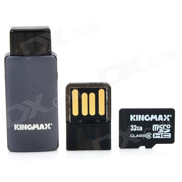 KINGMAX C6 TF Memory Card w/ OTG Card Reader / USB Adapter - Black (32 GB / Class 6) tt tf ths 02b hybrid style black ver convoy asia exclusive