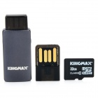 KINGMAX C6 TF Memory Card w/ OTG Card Reader / USB Adapter - Black (32 GB / Class 6)