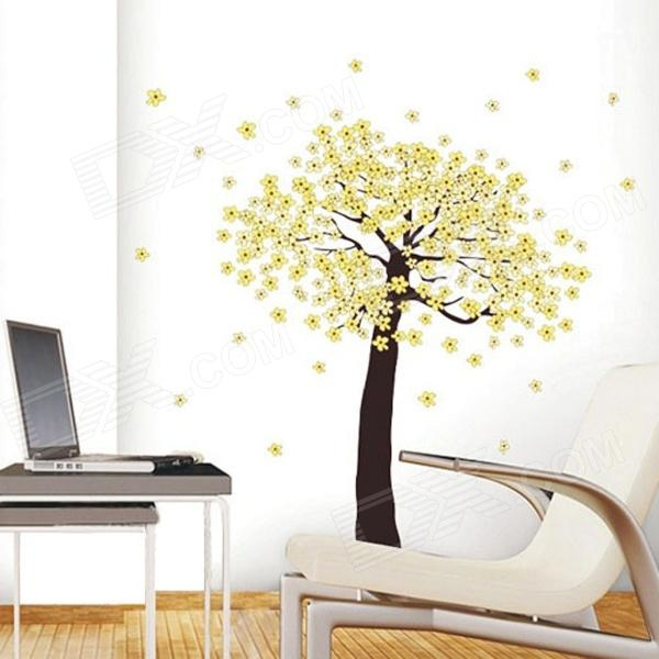 Village Garden Style Yellow Blossom Tree of  Removable Wall Sticker - Multicolored