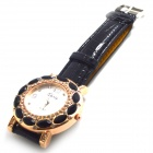 Stylish PU Leather Band Women's Quartz Analog Wrist Watch - Black (1 x 626)