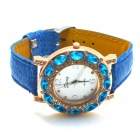 Stylish PU Leather Band Women's Quartz Analog Wrist Watch - Blue (1 x 626)