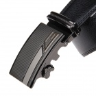 Stylish Men's Cow Split Leather Belt w/ Zinc Alloy Automatic Buckle - Black