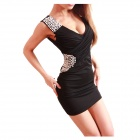 Sexy Women's Tight Low-Cut Slim Dress - Black
