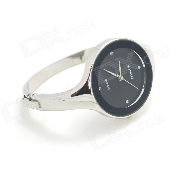 Fashion Bracelet Style Women's Analog Quartz Wrist Watch - Silver White + Black