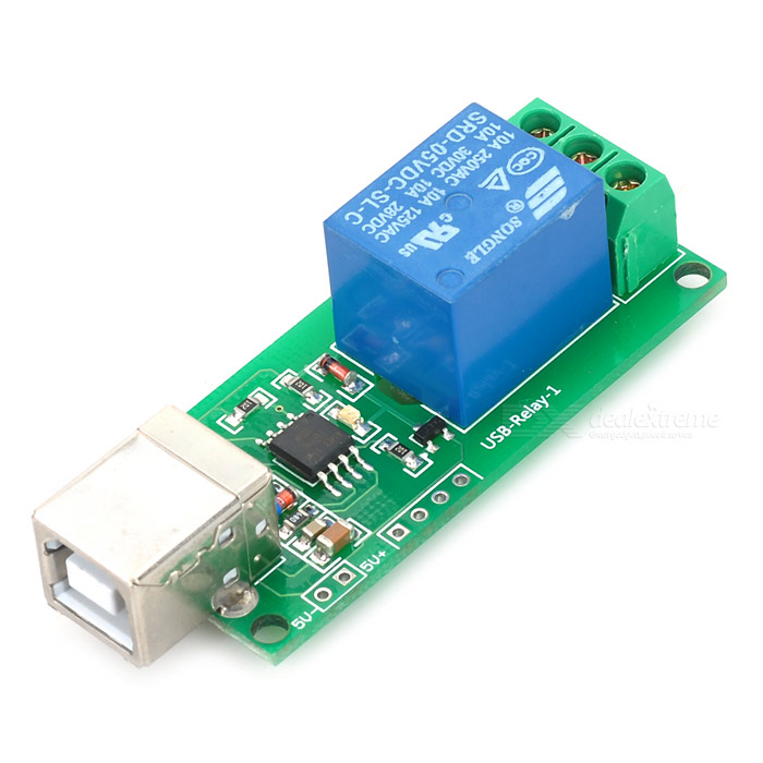 Keyes 1-Channel USB Control Switch Relay Module for PC - Red (5V)Relays <br>Form ColorGreenBrandKeyesModel1-channel 5VQuantity1 DX.PCM.Model.AttributeModel.UnitMaterialFR4English Manual / SpecYesDownload Link   Arduino routine: http://app.box.com/s/0v2dprnozmry05luxopvOther Features1. 5V SongLe relay, the relay can max. control 250V, 10A AC load and 30V, 10A DC load; 2. Control terminal connection mode: NC / COM / NO; 3. Onboard square USB interface, stable connection; 4. Adopts high performance USB control chip; High quality PCB; Fixed hole size: 3mm, fixed hole central moment: 52.2 x 20.6mmMax. Load250VPacking List1 x PC intelligent control module<br>