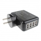 4-USB Port AC Power Charger Adapter for IPHONE / IPAD / Samsung / HTC - Black (US Plug / 100~240V)