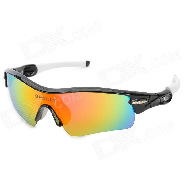 OPOLLY OP108 Polarization Cycling Sunglasses Goggles w/ Replacement Lens - Black + White the squad black op