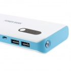 8000mAh bateria externa Dual USB Charger Power Bank w / cabo USB para IPAD / PHONE - Branco + Azul
