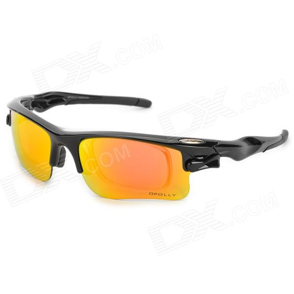 OPOLLY OP105 Polarized Cycling Sunglasses Goggles w/ Replacement Lens - Red REVO + Black topeak outdoor sports cycling photochromic sun glasses bicycle sunglasses mtb nxt lenses glasses eyewear goggles 3 colors