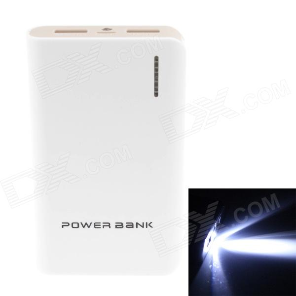 8400mAh Dual USB External Battery Charger Power Bank w/ USB Cable for IPHONE / HTC - White + Gray 20000mah external battery power bank w usb woven cable for google nexus 7 ii blue white