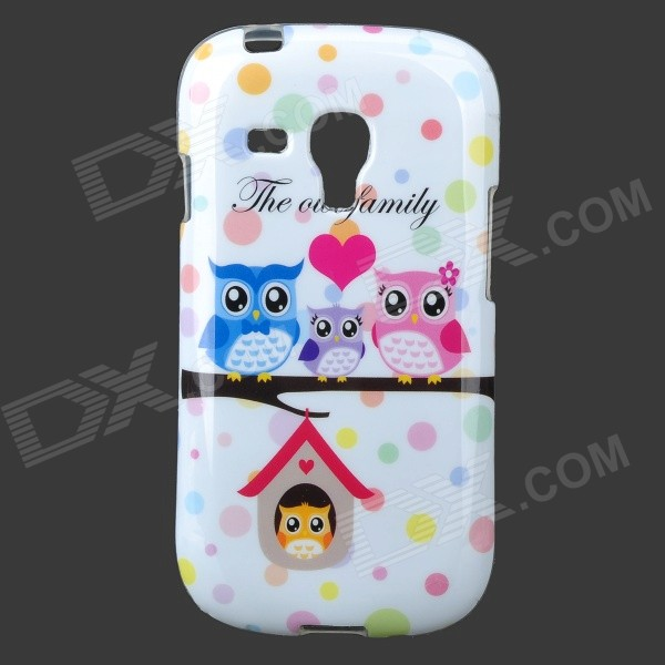 купить Owls Pattern Protective TPU Back Case for Samsung Galaxy S3 Mini i8190 - White + Multicolored недорого