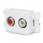 120 Wall Socket Module Panel w/ Dual Audio Ports - White + Green