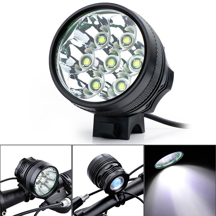 Marsing B70 7-LED 3-Mode 5500lm White Bike Light / Headlamp - Black (6 x 18650) marsing 3 led 3000lm 4 mode cool white bike light headlamp black 4 x 18650