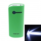 """5600mAh"" Dual USB External Battery Charger Power Bank w/ USB Cable for LG / IPHONE - White + Green"