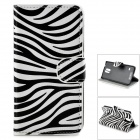 Zebra Skin Pattern Protective PU Flip-Open Case w/ Stand for Samsung Galaxy S5 - Black + White